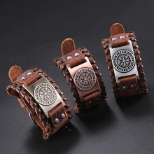 Skyrim Vintage vikingo brújula pulsera de cuero genuino para hombre nórdico runas Odin símbolo brazalete envuelto joyería accesorios regalo