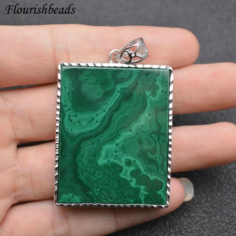 Rectangle Shape Natural Malachite Metal Edge Pendant Big Size Gemstone Materials Fine Jewelry Necklace Makings DIY Supplies