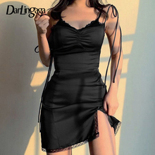 Darlingaga Strappy Satin Ruched Black Dress Mini Lace Spliced Side Split Sexy Dress Female Sundress Backless Ladies Dresses 2020