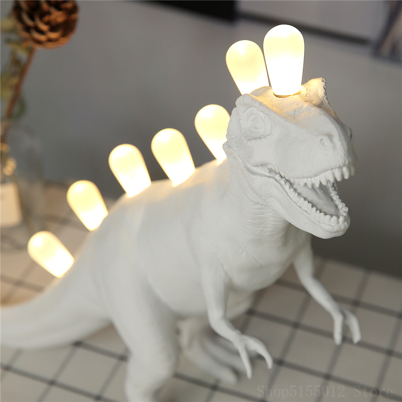 DIY White Animal <font><b>Lamp</b></font> King <font><b>Dragon</b></font> Night Light Children's Bedroom Bedside <font><b>Lamp</b></font> Dinosaurs Model Graffiti Children Toys Kids Gift image