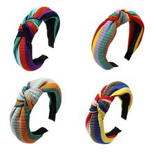 Korean Rainbow Stripes Wide Headband Women Girls Makeup Wash Face Hair Hoop Twist Bowknot Ribbed Knitted Styling Sweet Headpiece