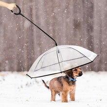 Transparent Pet Umbrella Dog Cat Adjustable Rainy Traction Rope Sturdy Pet Supplies Walking The Dog On Rainy Days