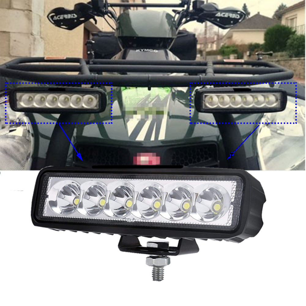 ECAHAYAKU 2pcs 6inch 18W LED Work Light bar Flood spot Beam For Truck Jeep Motorcycles Offroad 4x4 ATV 4WD SUV UAZ Car Fog
