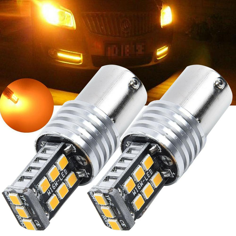 Hot Sale 2PCS <font><b>Amber</b></font> Orange 1156 <font><b>P21W</b></font> 3157 BA15S 15SMD 2835 <font><b>LED</b></font> Bulbs For Turn Signal Lights lamps for cars car light dropship image