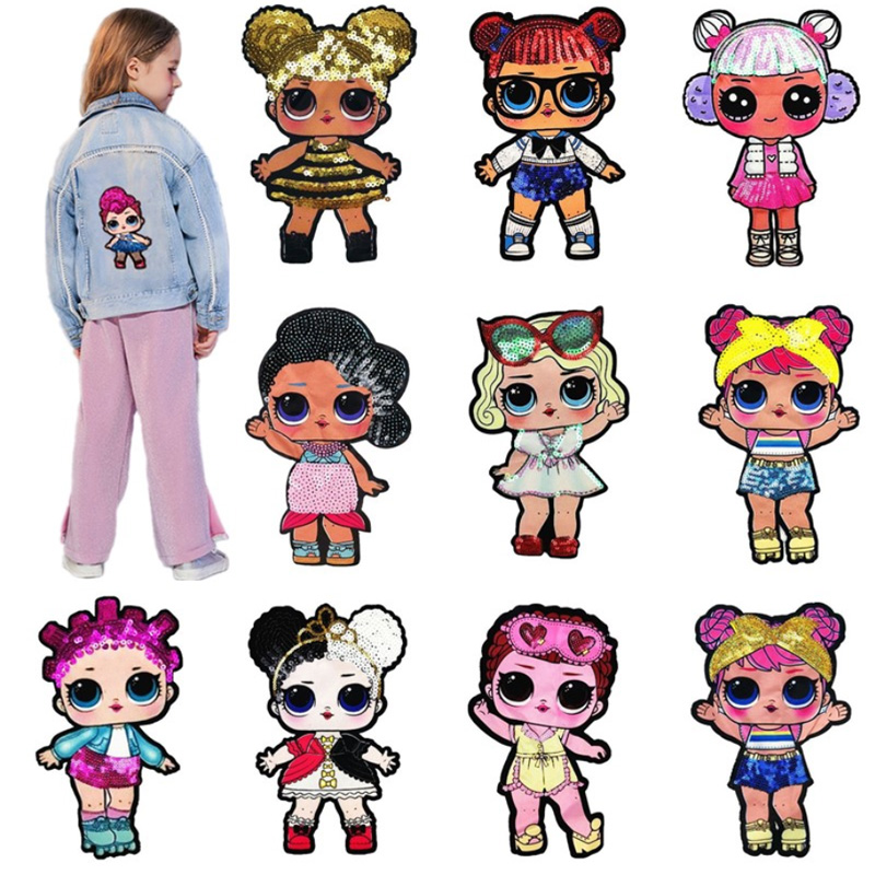 Cartoon Patches Women Fashion Lols Doll Girls Lovely  Fashion Boy Doll Embroidery Patch DIY Garment Decoration Sequins Cloth