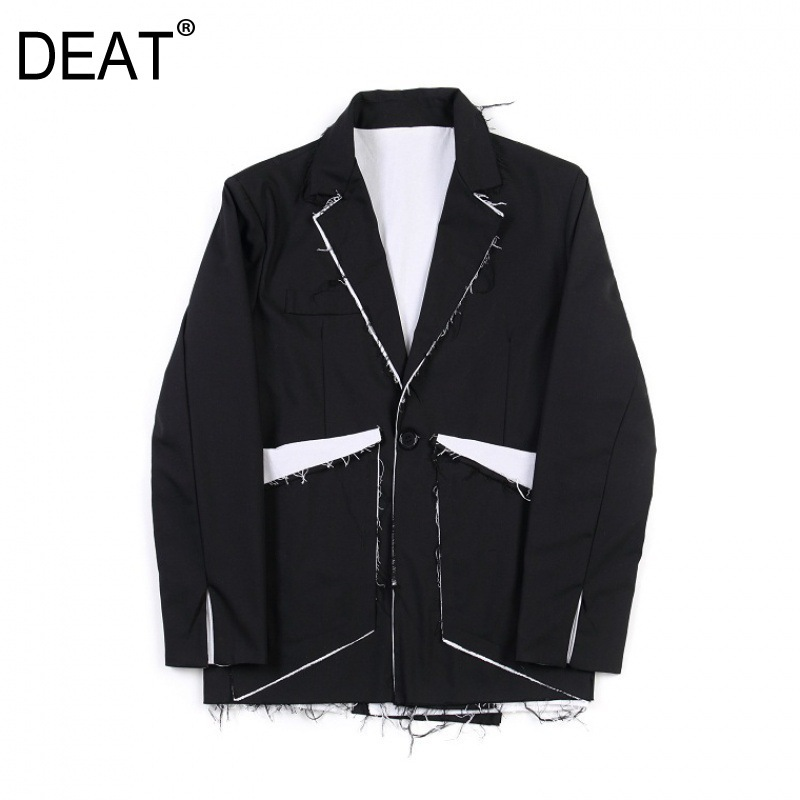DEAT 2020 New Spring And Summer Fashion Women Runway Clothing Notched Vintahe Flare Sleeves Patchwork Blazer WK67401L