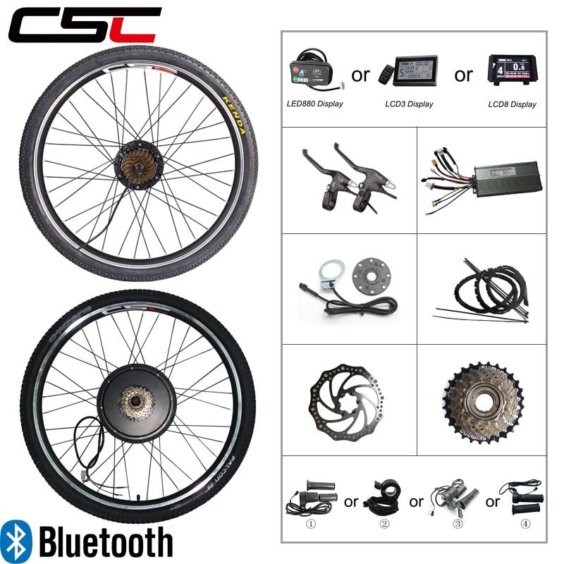 Электрический велосипед конверсионный набор 36V 250W 350W 48V 500W 1000W 1500W Ebike 20 24 26 27,5 28 29inch 700C Передний Задний колесный мотор