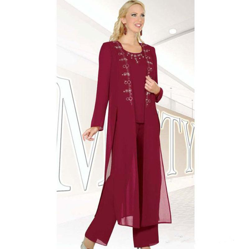 Dark Red Beaded Mother Of The Bride Pant Suits Three Pieces Wedding Guest Plus Size Chiffon 2018 Mother Of The Bride Dresses