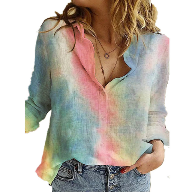 Aprmhisy Elegant Turn-Down Collar Shirts Women Autumn New Long Sleeve Floral Print Casual Office Blouse Shirt 1