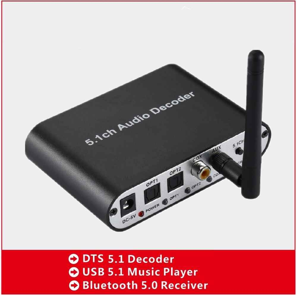 5.1CH Decoder Audio Bluetooth 5.0 Ricevitore Wireless Adattatore Audio Ottico Coassiale AUX USB2.0 DAC DTS AC3 FLAC DA615