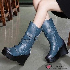 Image 4 - GKTINOO Botas de piel auténtica para mujer, zapatos cálidos de media caña, informales, con cuña, botas de moto para mujer