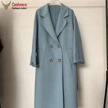 Winter long coat female wool coat women water ripple cashmere coat women new autumn loose double breasted coat women commuter cheap DUTRIEUX CN(Origin) 6217 Ages 18-35 Years Old Turn-down Collar Regular Full Wide-waisted Wool Blends Pockets 20 cashmere + 80 wool