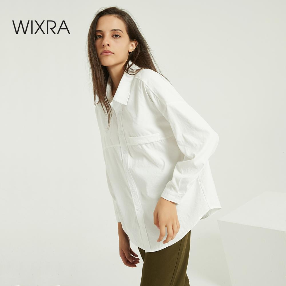 Wixra Casual Loose Women Shirts New Fashion Collar Blouse Long Sleeve Buttons White Shirt Women Tops Spring Autumn