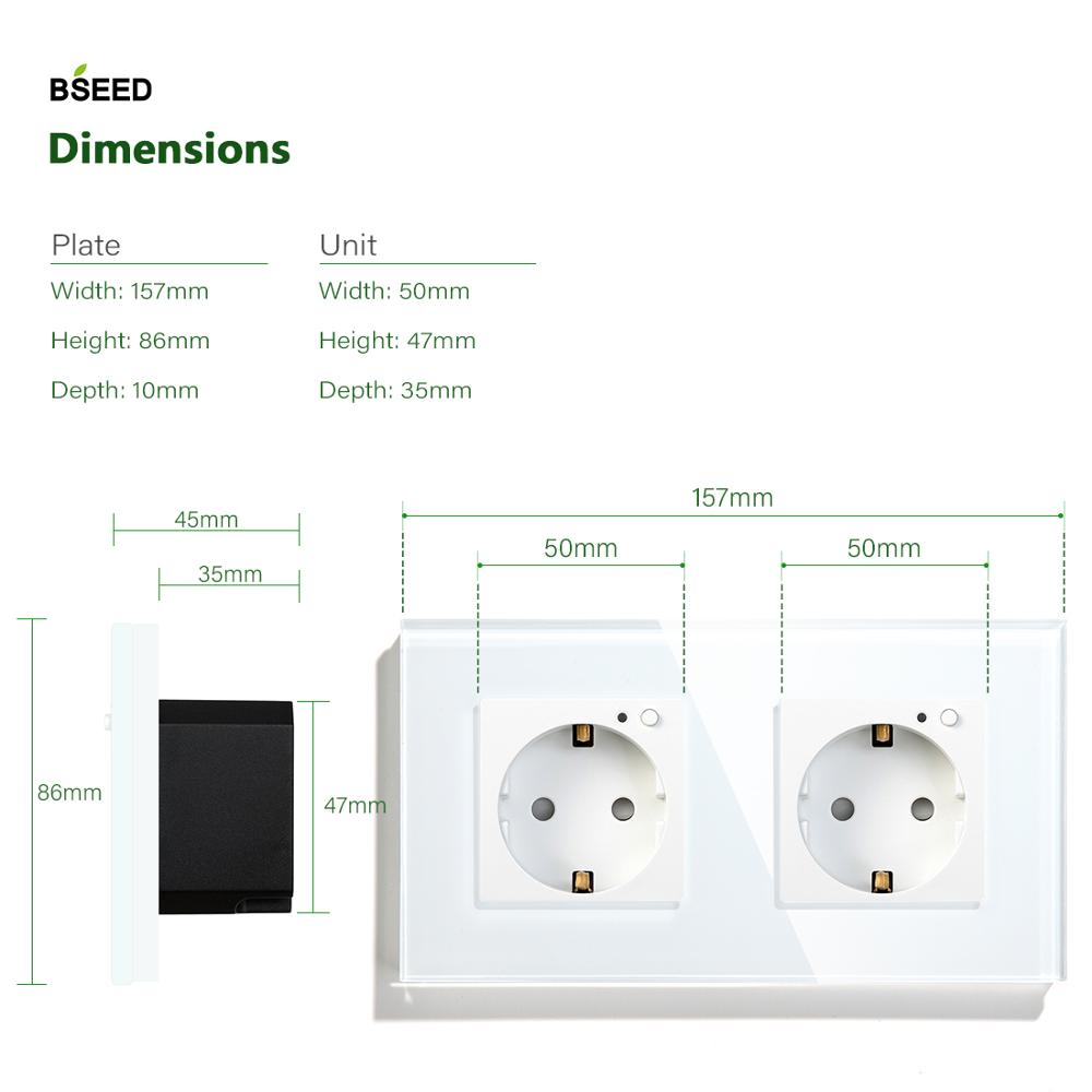 Image 4 - BSEED Wifi Double EU Standard Socket Wall Socket White Black Gloden Crystal Glass Panel Suppor For Tuya Google  Smart Home-in Electrical Sockets from Home Improvement