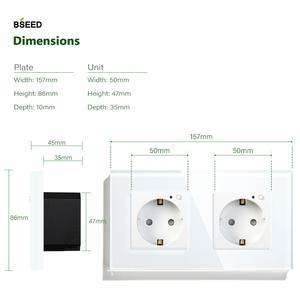 Image 4 - BSEED Wifi Double Socket EU Standard Wall Socket 16A 110V 250V White Black Gloden Crystal Glass Panel For Smart Home