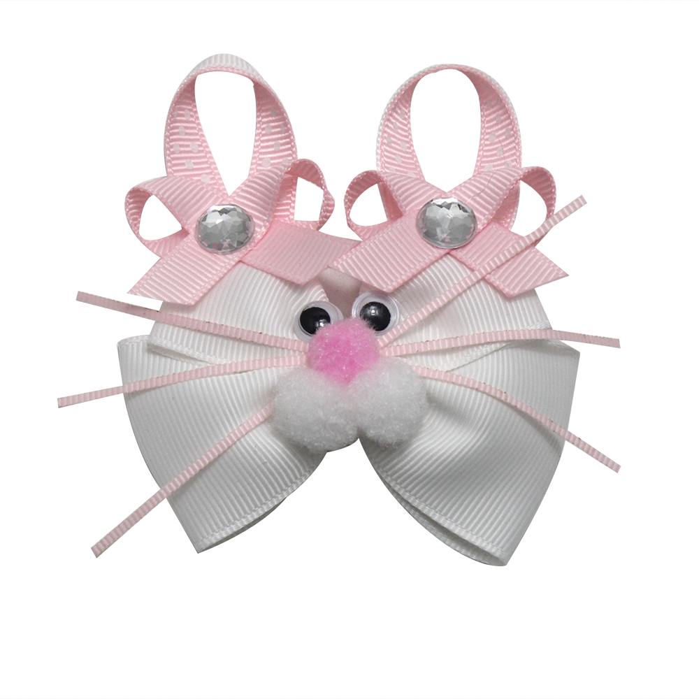 3-4 Inch Easter Cute Pink Rabbit Hair Bows For Girls Hair Clips Hair Accessories Handmade Hair Barrettes Kids Gifts Heardress