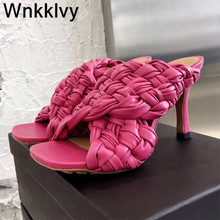 Weave Sandals Dress-Shoes Slippers Women High-Heels Sexy Real-Leather Summer Thin Braided