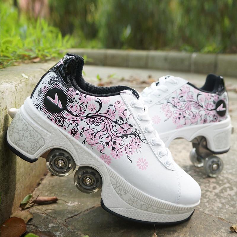 Hot Shoes Casual Sneakers Walk Roller Skates Deform Wheel Skates for Adult Men Women Unisex Child Runaway Skates Four Wheeled
