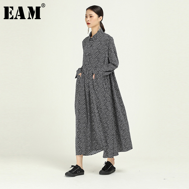 [EAM] Women Black Dor Print Split Big Size Asymmetrical Dress New Lapel Long Sleeve Loose Fit Fashion Spring Autumn 2020 1N510