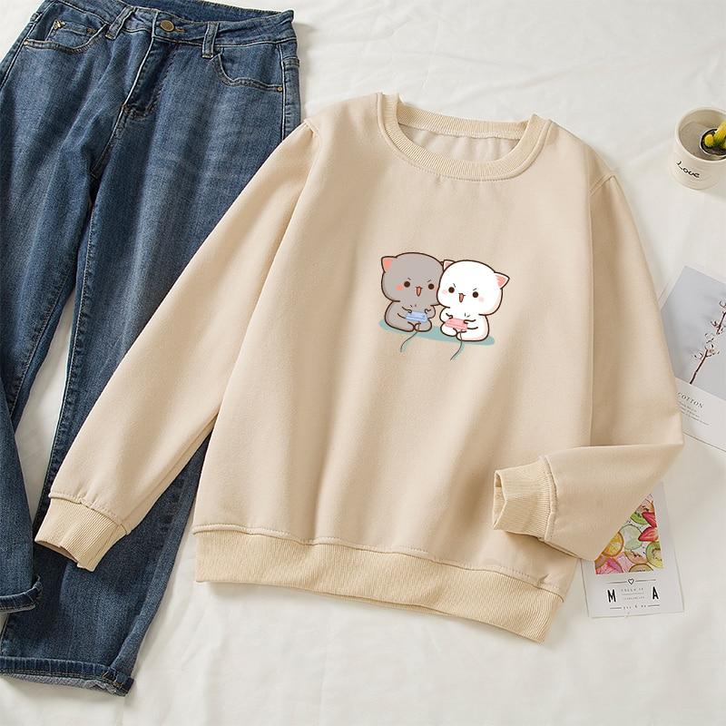 Cute Cat Printed Hoodies Women Autumn Loose Sweatshirt Female Itself Harajuku Kawaii Hooded Pullover Thicken Couple Coat 15