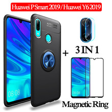3-in-1 Glass + Magnetic Silicone Case for Huawei P Smart 2019 y6 Full Cover huawei p smart magnetic ring