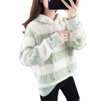 Fashion Autumn New Sweater Women Knit Tops 2020 Solid color Loose Hooded Striped Casual Pullover OK032