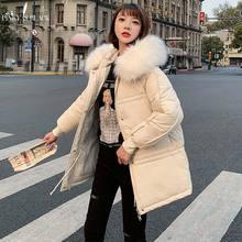 PinkyIsBlack Large Fur Women Winter Parka Tops Feminine Coat Clothing Warm Jacket Long Hooded Outerwear