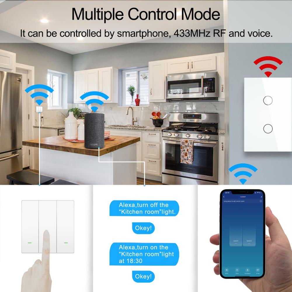 Smart Wifi Touch Switch No Neutral Wire Required Smart Home 1/2/3 Gang Light Switch 220V Support Alexa Tuya App 433RF Remote 3