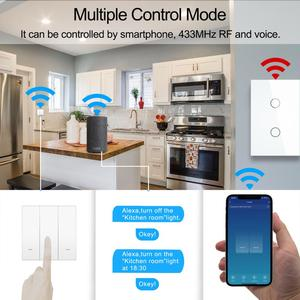 Image 3 - Smart Wifi Touch Switch No Neutral Wire Required Smart Home 1/2/3 Gang Light Switch 220V Support Alexa Tuya App 433RF Remote