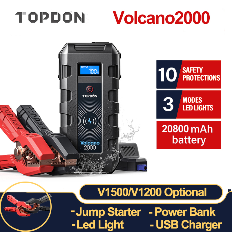 TOPDON V2000 Car Jump Starter 20800mAh 12V 2000A Peak Portable Emergency Wireless Charger Power Bank Booster Start Device