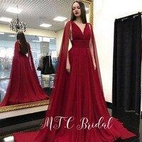 Burgundy Arabic Prom Dresses With Long Ribbons V Neck Backless Pleat Chiffon Long Formal Dress 2019 Ballkleider Lang Cheap