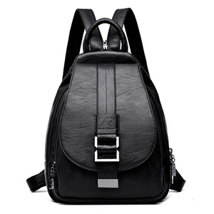 Image 1 - 2019 Women Backpack Multifuction Female Backpack Casual School Bag For Teenager Girls High Quality Leather Shoulder Bag For Lady