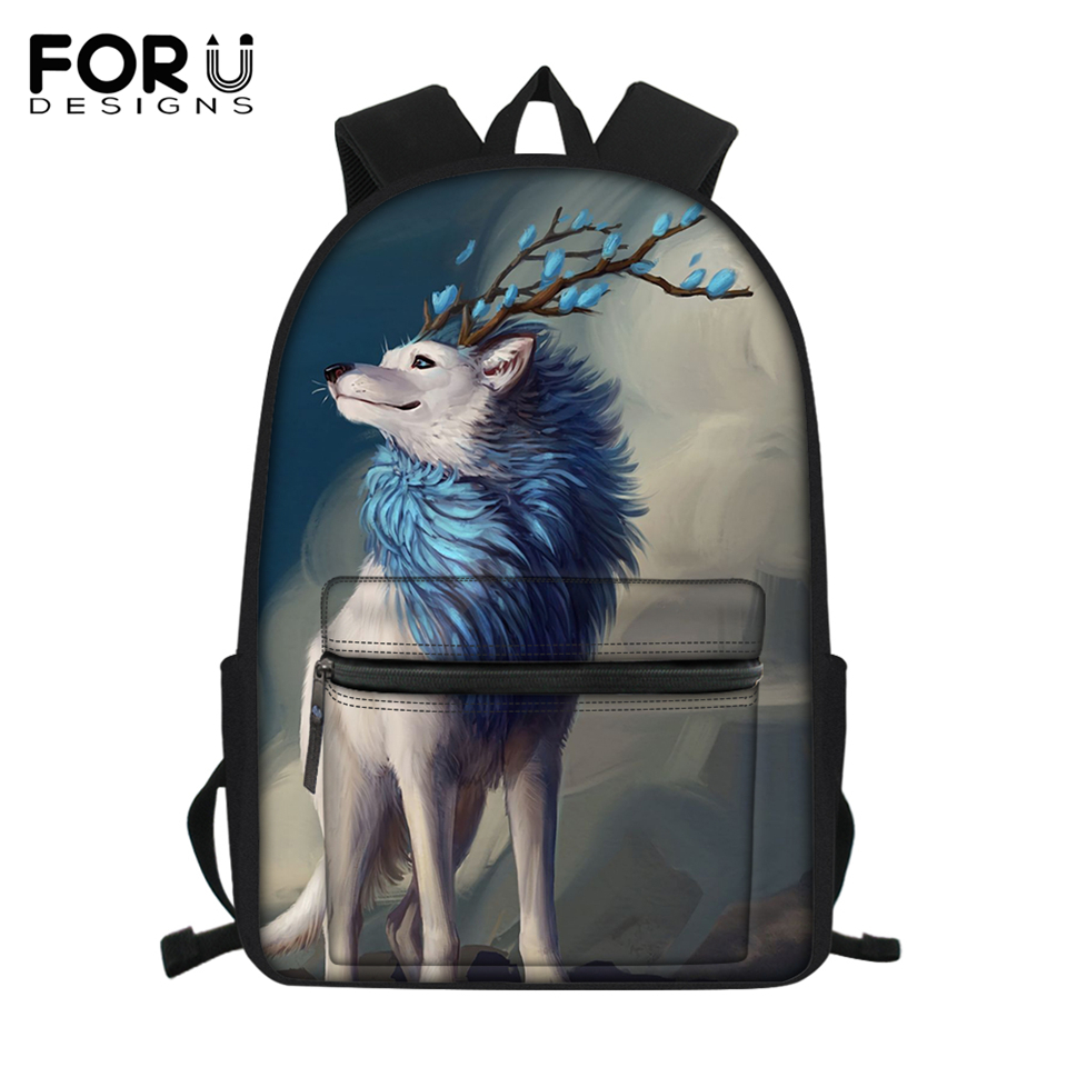 FORUDESIGNS Fashion Women's Shoulder Canvas Backpack Fantasy Wolf Pattern Children's School BooK Bags Cartoon Girls Travel Bags