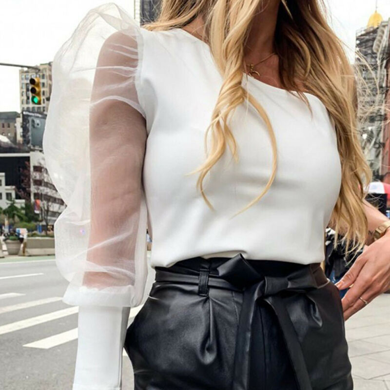 Women One Shoulder Sheer See-through Long Puff Sleeve Tops Blouse Clubwear One Shoulder Jumpsuit Sexy Rompers Party Bodysuit