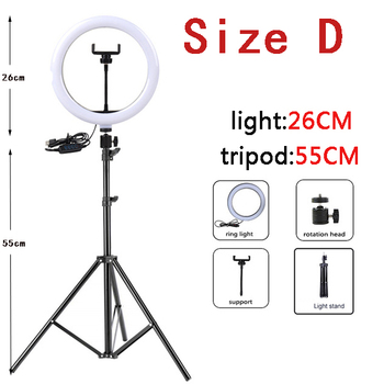 10 Inch Led Ring Light with Tripod Rim Ringlight Selfie Photo Round Ring Lamp Right Light for Smartphone Photography Shooting 8