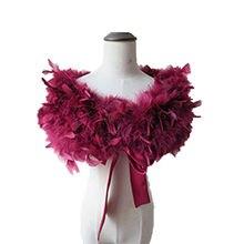 จริง 100% นกกระจอกเทศ Feather Fur Wraps Bolero solid งานแต่งงานผ้าคลุมไหล่สีดำสีขาวผู้หญิงฤดูหนาวสีชมพูเคปป้องกันไหล่ S72