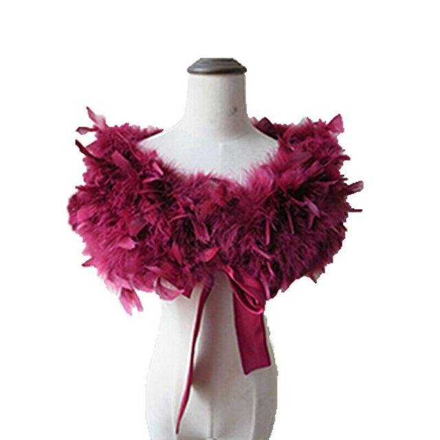 Prawdziwe 100% strusia futro z futra okłady Bolero stałe wesele szal czarny biały kobiety zima różowy Cape chronić ramię S72
