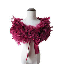 Real 100% Ostrich Feather Fur Wraps Bolero solid Wedding Party Shawl Black white Women Winter Pink Cape Protect shoulder S72(China)