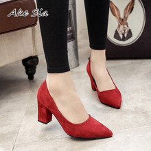 2019 autumn Female sandals pointed lady sexy high heels black with thick with wi