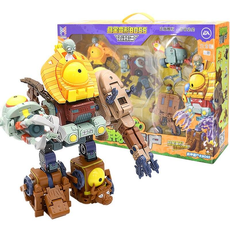 5 en 1 assemblage déformation Zombie patron Robot poupée PVZ plantes vs Zombies jouets éducatifs PVC figurine modèle jouets enfant cadeau