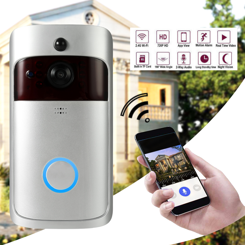 Wireless WiFi Security DoorBell Smart Video Door Phone With Plug-in Chime Visual Recording Remote Home Monitoring Night Vision