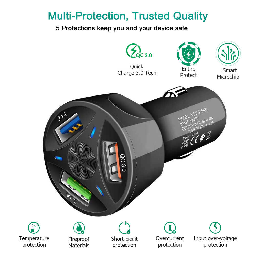 Aixxco 3 Poorten Usb Car Charger Quick Charge 3.0 Snelle Auto Sigarettenaansteker Voor Samsung Huawei Xiaomi Iphone Autolader qc 3.0