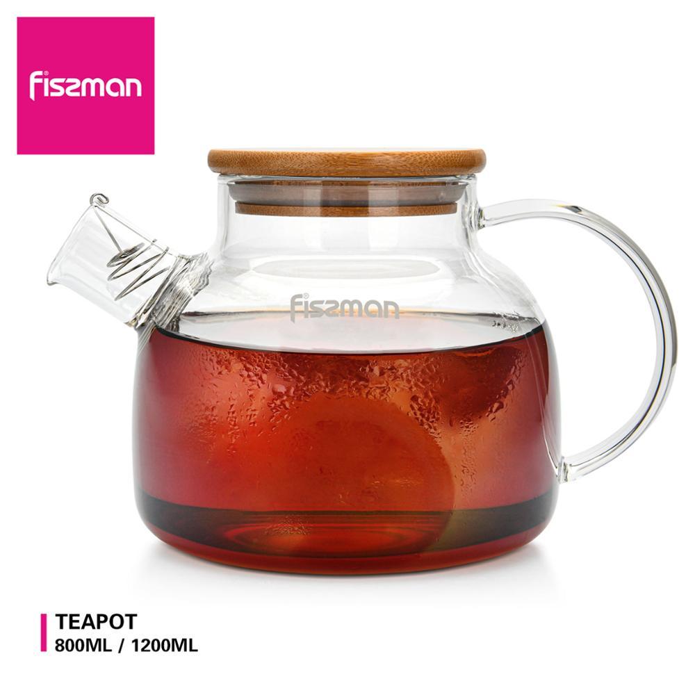 Fissman borosilicato tetera de vidrio con tapa de bambú de filtro de acero inoxidable resistente al calor leche Oolong tetera flores