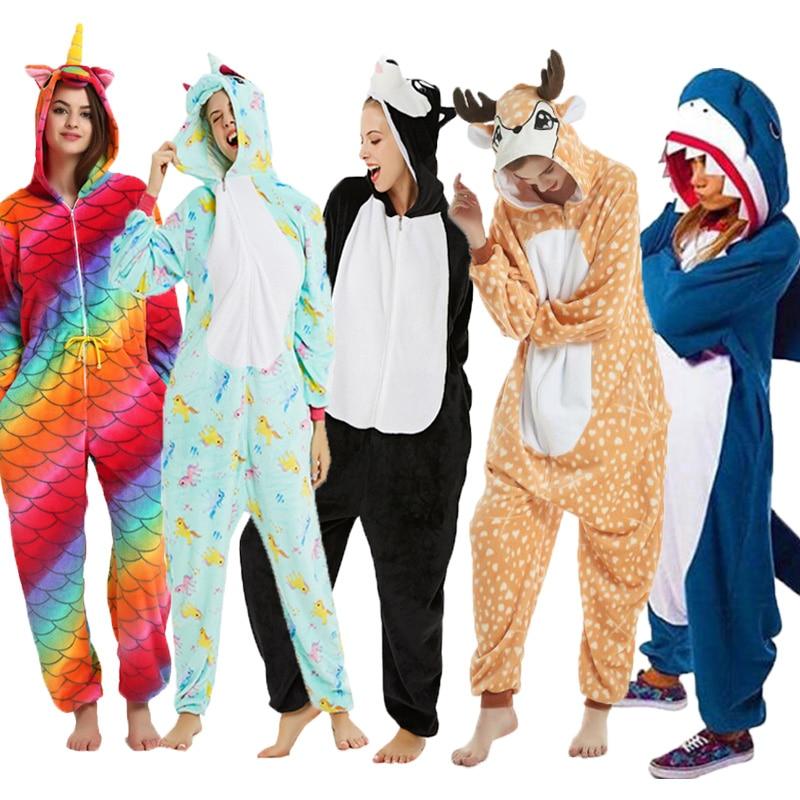 New Winter Adults Animal Kigurumi Pajamas Cartoon Sleepwear Unisex Pajamas Sets Stitch Unicorn Warm Flannel Hooded Sleepwear