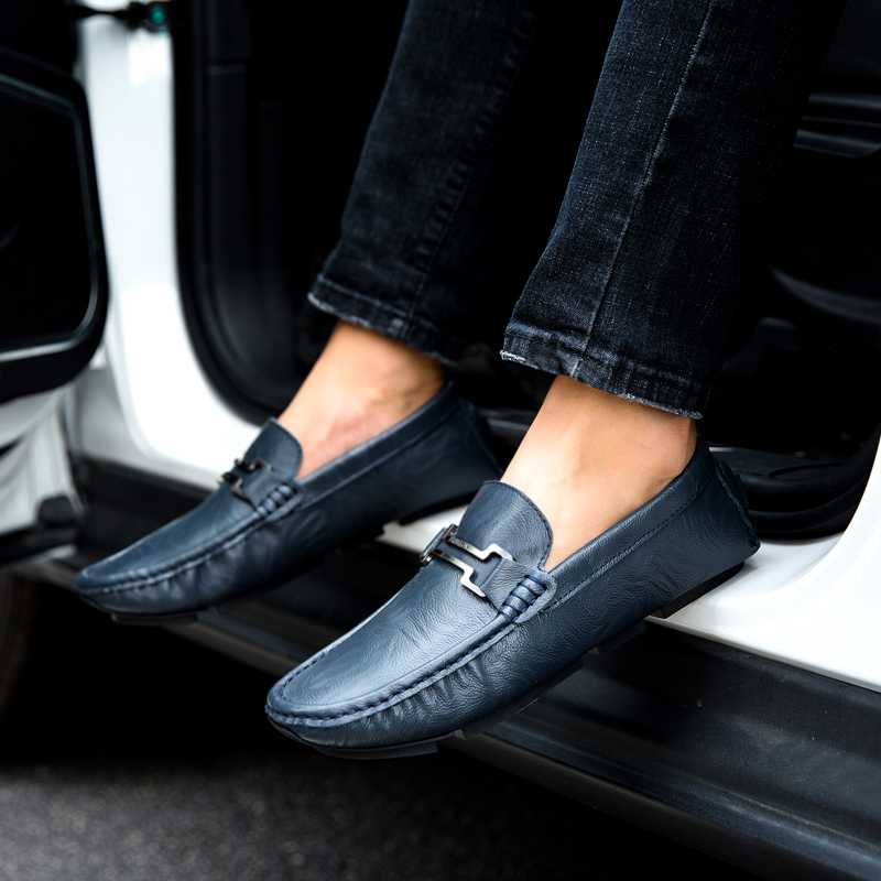 Men Casual Shoes Fashion Men Shoes Genuine Leather Men Loafers Moccasins Slip On Mens Flats Male Driving Shoes,03 Dark Blue,7