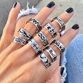 New Hip-hop Creative Punk Butterfly Flame Ring Stainless Steel Vintage Gothic Cross Rings For Women Men Couple Fashion Jewelry