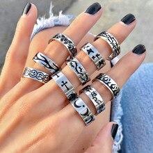 Novo hip-hop criativo punk borboleta chama anel vintage gótico cruz anéis para mulheres casal moda jóias