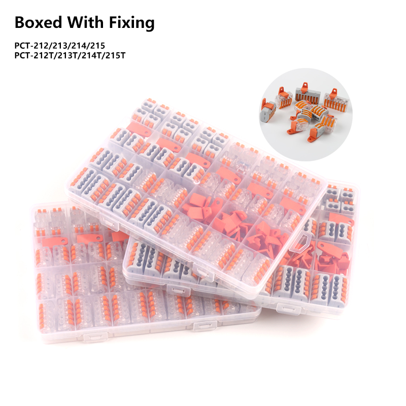 94PCS Mixed Boxed Wire Connector Home DIY YOU PCT-212/213/214/215 Type Universal Compact Terminal Block With Fixing Accessories
