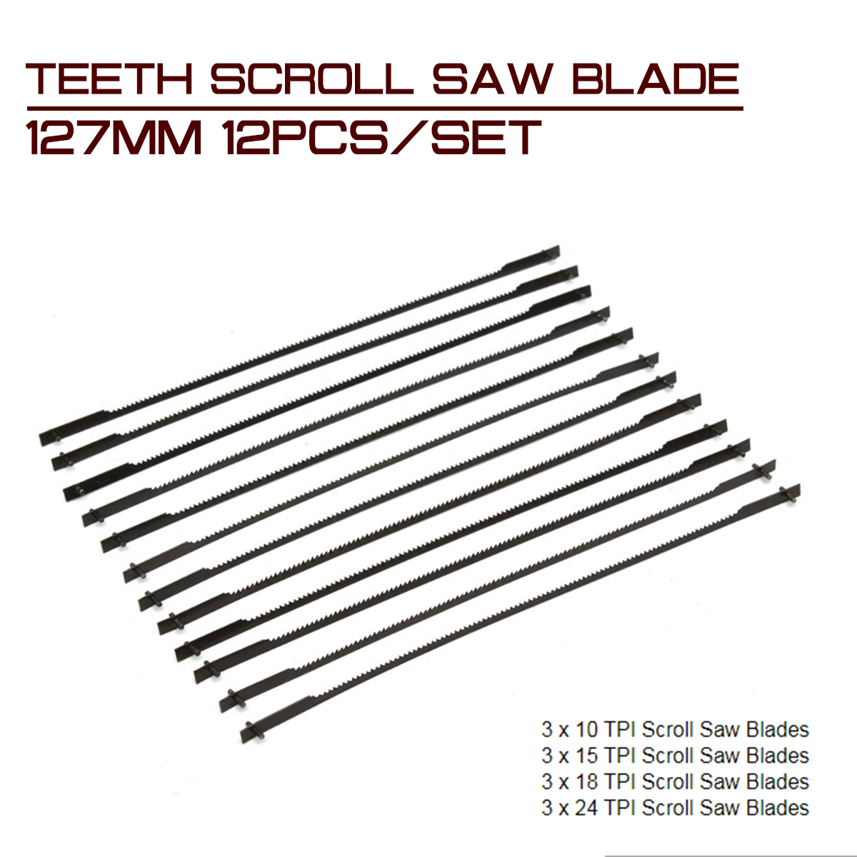 12Pcs/set Teeth Scroll Saw Blade 127mm for Cutting Wood Woodworking Power Tool Accessories Black