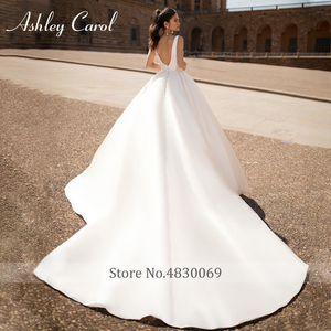 Image 2 - Ashley Carol Satin A Line Wedding Dress 2020 Sexy V neck Backless Shining Puff Sleeve Vintage Wedding Gowns Vestido De Noiva